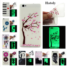 HATOLY For Huawei P8 Lite Glow Case Slim Embossed Slim Soft Silicone Phone Cases TPU Night Light Cover For Huawei P8 Lite Case#<(China)