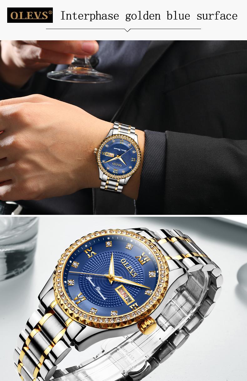 ساعة يد رجالي عالية الجودة مرصعةبالماس 16