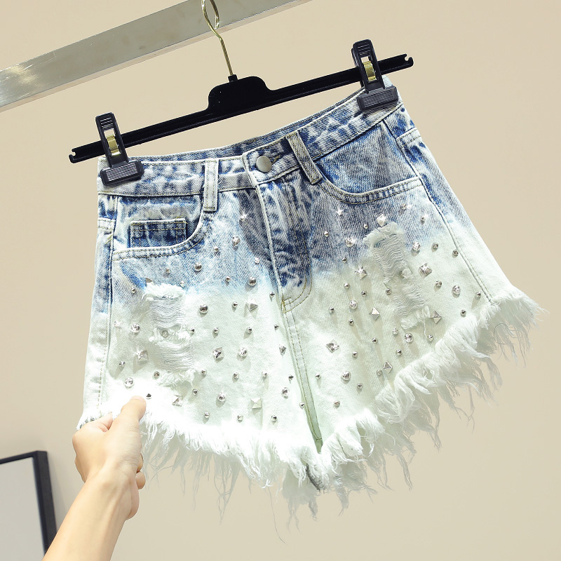 New Stitched Colored Nailed-bead Jeans Shorts Women Fashion Rivet Do Old Ripped Jeans Shorts Lady Vacation Beach Hot Pants Femme