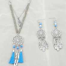 2015 free shipping fashionable new blue line fringe tassels glass beaded necklace, earrings suit
