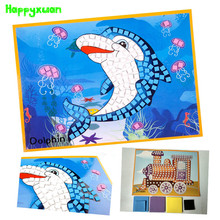 Happyxuan 4 pcs/lot Large Eva Mosaic Art Sticker Educational Puzzle Kindergarten Children Toys DIY Art Craft Material Kit