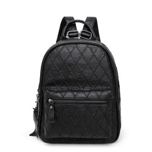 The new first layer of leather Lingge embroidered line backpack Korean tide ladies travel bag manufacturers(China)
