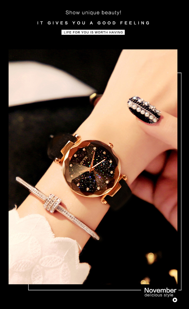 18 Luxury Brand Gogoey Women Watches Personality romantic starry sky Wrist Watch Leather Rhinestone Designer Ladies Red Clock 17