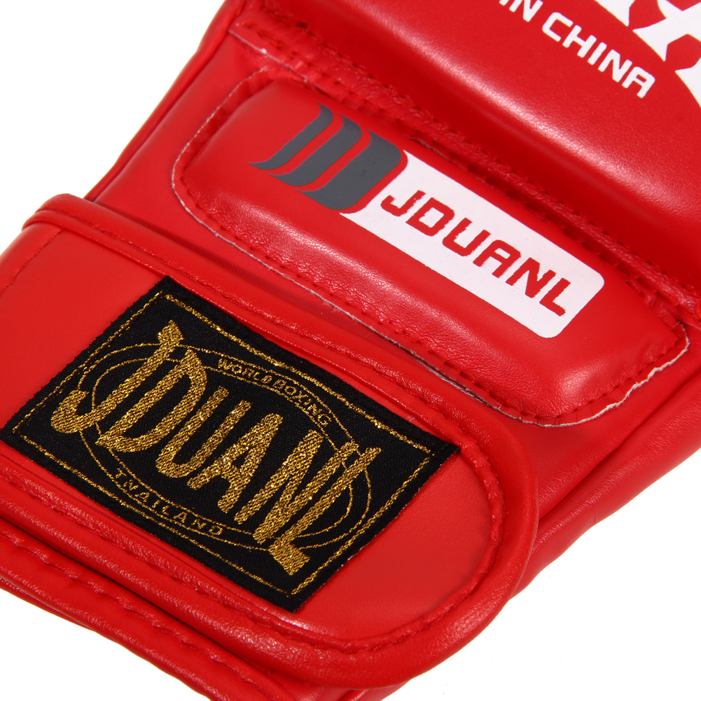 Boxing Gloves MMA Gloves Muay Thai Training Gloves MMA Boxer Fight Boxing Equipment Half Mitts PU Leather Black/Red 15