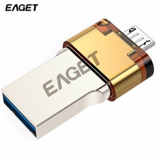 EAGET OTG V80 USB Flash Drive USB 3.0 Pass H2 Test 16GB/ 32GB/ 64GB Pendrive External Storage U Disk for Smartphone Tablet PC