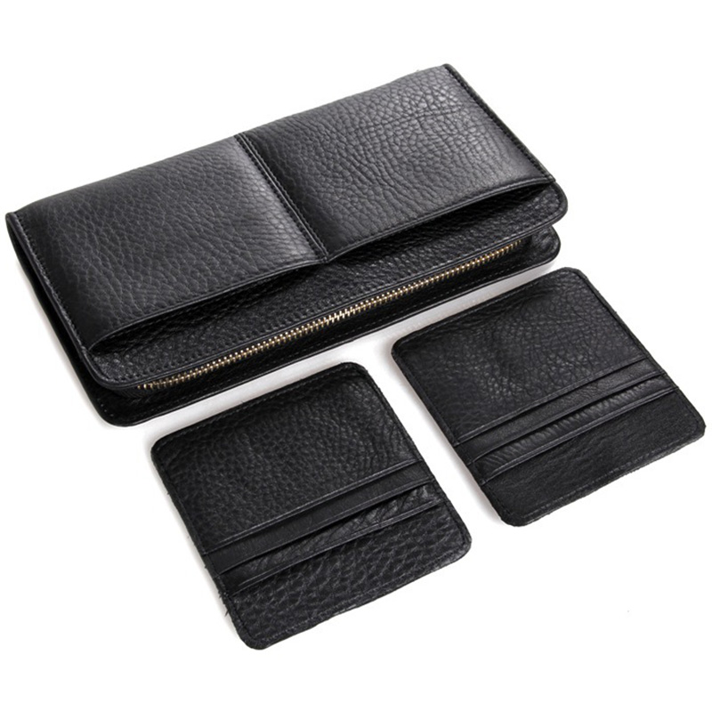 Movable Card ID Holders Phone Holder Business Money Bag Men Wallets Genuine Leather Big Capacity Coin Purse Wallet Clutch Male<br>