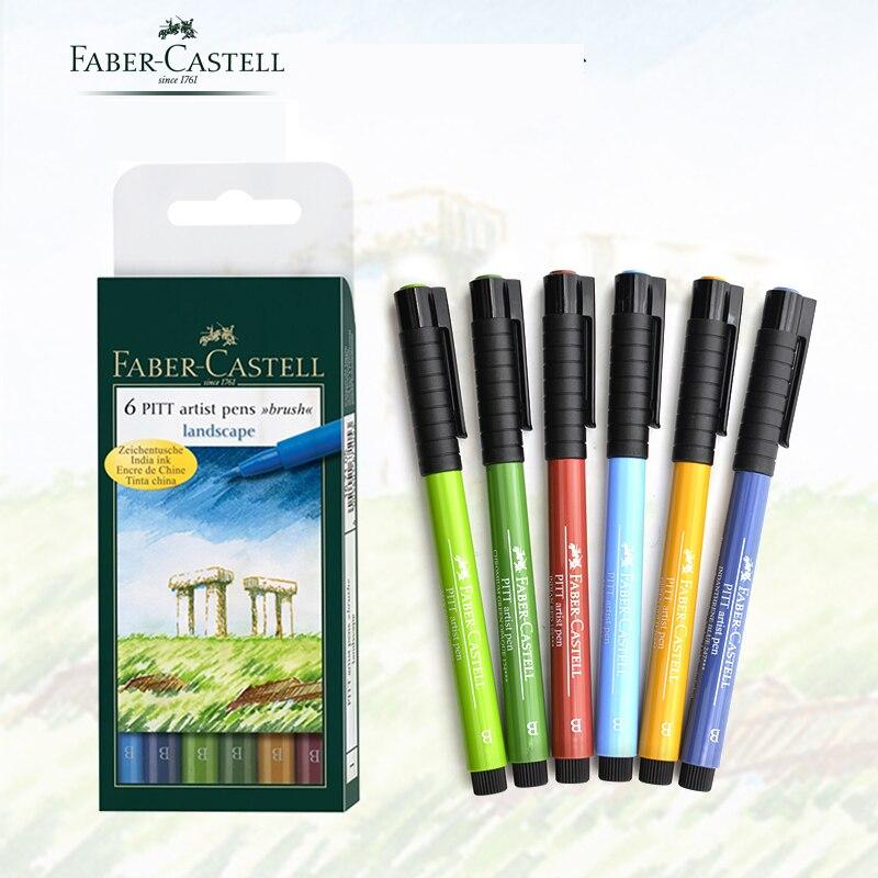 Faber-Castell Pitt Artist Color Brush Brush Pen Art Markers Wallet Set (6 Pack), Landscape Design, Assorted ,Bright,FC167105 <br>