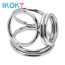 Buy IKOKY Delay Ejaculation Sex Toys Men Male Stainless Steel Cock Rings Four Cock Cages Penis Rings Male Chastity Device