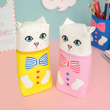 Fromthenon Cartoon Cat Pencil Cases Cute Animal Kawaii Pencil Bag Box Girls Kids Creative-gift School Supplies Stationery Store