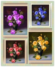 &% 4 colors roses Diamond Embroidery 5D Diamond Painting Cross Stitch Kits Mosaic crystal Round Drill picture around mosaics