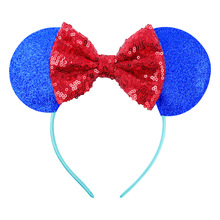 20pcs/lot New sequin big bow hair accessories Mickey Minnie Mouse Ears Bowknot children headband holiday party