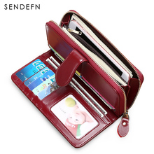 Buy Long RFID Wallet Antitheft Split Leather Wallet Women Hasp Zipper Leisure Purse Large Capacity Purse Lady Wallet for $19.90 in AliExpress store