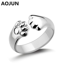 AOJUN Adjustable Silver Plated Cat Claw Ring Design Cute Fashion Jewelry Cat Ring For Women Young Girl Child Gifts Wholesale
