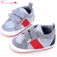 Newborn Baby Boys Toddler Cotton Fabric First Walker Kids Soft Bottom Sneaker Shoes(China)