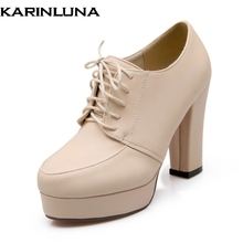KarinLuna Big Size 31-43 Women Thick High Heel Pumps Vintage Lace Up Round Toe Platform Leisure Shoes Black Beige White