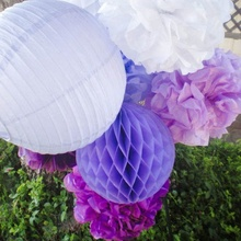 (White,Purple,Aubergine) Paper Decoration Set Paper Crafts(Paper Lantern,Pom Poms) Flowers Wedding Birthday Party Nursery Decor(China)