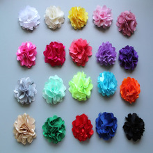 30pcs/lot promotion mini 2'' Rosettes satin lace DIY flowers satin silk fabric flower without clip Free shipping 20color(China)