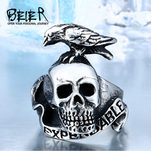 Buy Punk Style Expendable Men 316L Stainless Steel Bird Skull Ring Animal Jewelry Man Cheap BR8-120 for $3.19 in AliExpress store