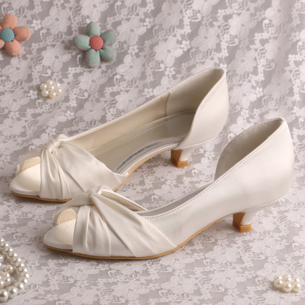 Wedopus MW632A Low Heel Pumps Open Toe Bridal Shoes for Women Satin Ivory Wedding Summer Shoes <br>