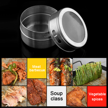 1Pc Portable Salt Pepper Stainless Steel Spice Jars Flavoring Container Magnetic Tins Kitchen Storage(China)
