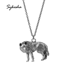 2018 New 3D Men Antique Ferocious Wolf Pendant Necklace Vintage Lively Wolf Alloy Pendant Necklace Fashion Male Jewelry(China)