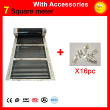 7 Square meters floor Heating film, 110W per meter infrared heating panel 50cm x 14m with 16 pieces of clamps for heated floor