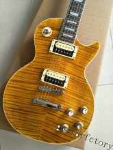 Latest Arrival LP Slash Appetite Yellow Tiger Flame Standard Signature Guitar China Factory In Stock For Sale