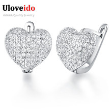Uloveido 50%Off Silver Color Trendy Heart Stud Earrings for Women Charms Earings with Stones Earring Female Fashion Jewelry R139(China)
