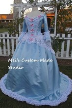 Custom Made Blue & Pink Fantasy Marie Antoinette Gown Carnivale Costume/Bridal or Victorian Wedding Gown(China)