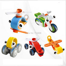 5 styles/lot BUILD&PLAY mini building blocks car robot motorcycle Aeroplane model,kid DIY flexible soft&safe plastic toys(China)