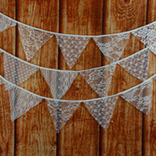 Wedding Party Decor 3.2M 12 Flags Lace Fabric Vintage Pennant Bunting Banner Decor Romantic Hanging Ornaments