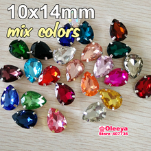 Mix Color 50pcs/bag 10x14mm Waterdrop sew on Stone with Claw Rhinestone glitter Glass Sew-on Claws Pear Shape Clothing Y1912
