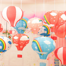 "New Christmas Decorations For 16"" 40cm 100PCS Rainbow Hot Air Balloon Paper Lantern For Birthday Party Wedding Decoration"
