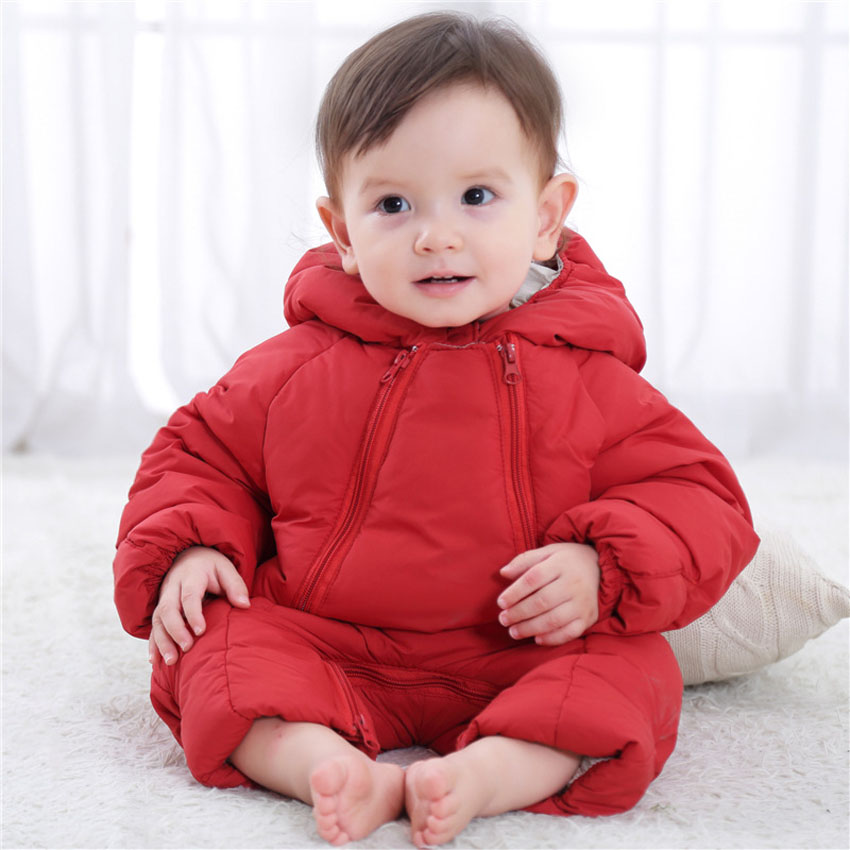 Baby Girls Clothing Baby Down Cotton Polyester One-Pieces Bodysuits Zip Solid Hooded Warm Kids Childrens Clothes Free Shipping<br>