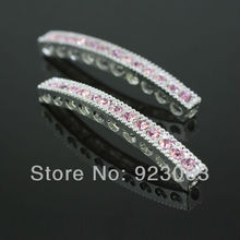 Wholesales 50pcs/lot Pink Crystal Curved Sideways Bar Connectors Beads For DIY Bracelet, Silver Plating Jewelry Findings C068(China)
