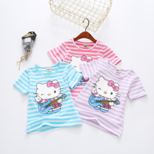 2017 girls summer clothing child short-sleeve top T Shirt with hello kitty child t-shirt baby cartoon t-shirt 17080 3colors TZ07