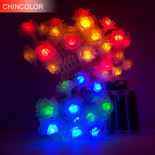 1-2m 10-20leds Holiday lightls Simulation of rose Led Light string Battery Operated christmas wedding valentine Day  decor F