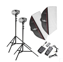 2015 Free Shipping 360W STUDIO Flash Lighting PHOTOGRAPHY STROBE LIGHT KIT 2 x 180W Send 2.4G wireless receiver(China)