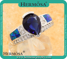 FREE SHIPPING Fashion 925 Sterling Silver Australian Jewelry Blue Fire Opal Rings Trend Products Size 7(China)