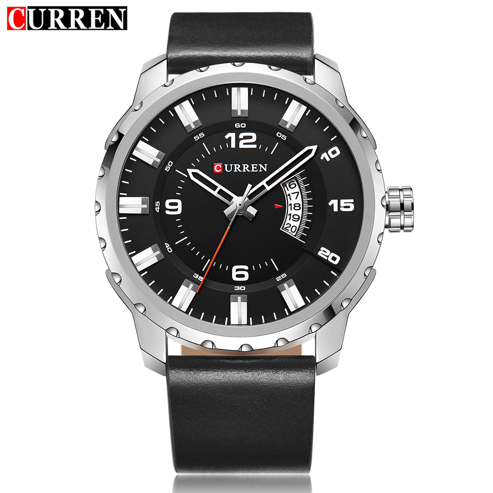 CURREN Mens Watch Fashion Casual Auto Date Quartz Wristwatches Leather Strap Analog Waterproof Watches 8245<br>