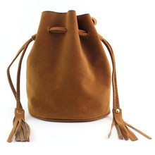 Women Fashion Tassel Drawstring Handbag Shoulder Bag Large Tote Ladies Purse