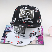 Fashion Hiphop Black And White Skull Rose Offset Printed Baseball Caps,GO Pairs snapback cap Flat hat peak cap street dance cap