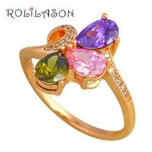 ROLILASON Romantic Style Color Zircon Gold Tone Fashion Jewelry Birthday Gift Rings USA Size 556577585 JR2133