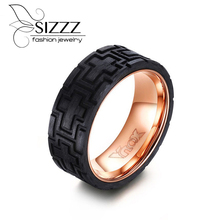 SIZZZ Men Ring Stainless Steel Carved Forged Carbon Fiber Rose Wedding Band Men's Jewelry(China)