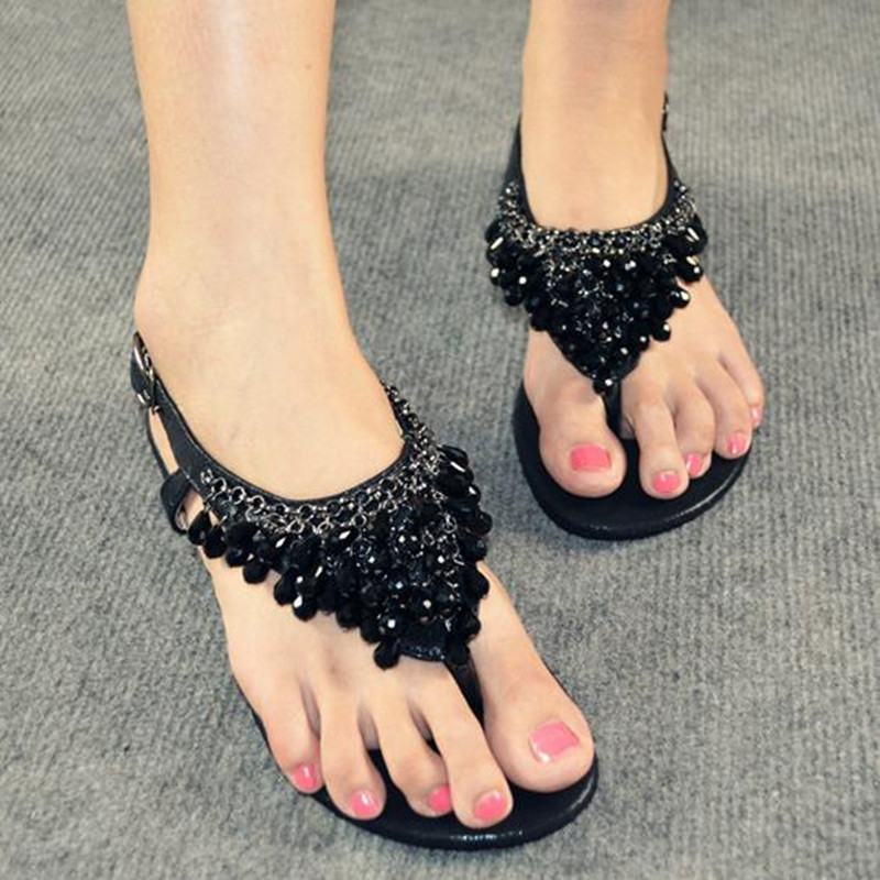 Women summer Bohemian style ethnic crystal pendant string beads pearls gold silver black flip-flops flats low heels sandals F32<br><br>Aliexpress