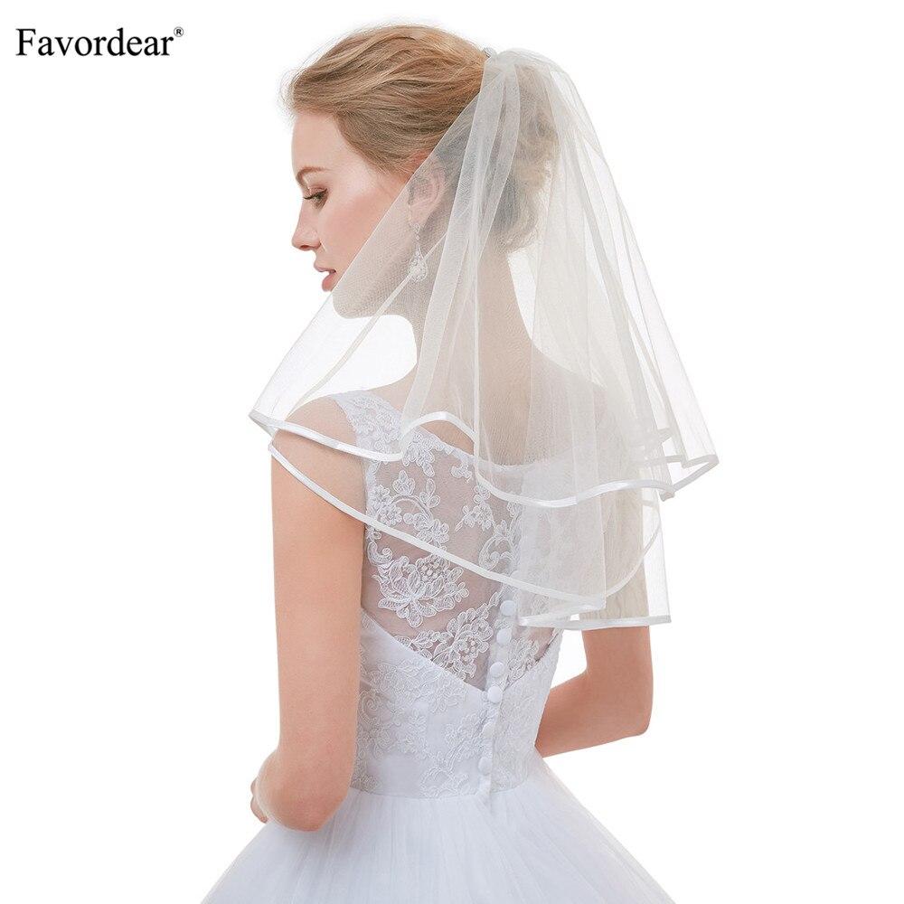 Soft White//Ivory Wedding Veils Fingertip Length Bridal Bride Ribbon Edge Newest