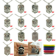 P1-13 Free Shipping Dull Skull Leaf Tree Flower Cactus Dolphin Heart Flag Fragrance Diffuser Locket Necklace 24''