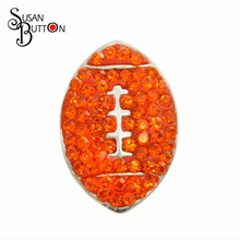 12pcs/lots Interchangeable Snap Susan Jewelry Clay Rhinestone Inlay Orange Crystal rugby Ball Sport  Snap Button Charms
