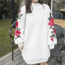 Women Sweatershirt Loose Thick Imitation Lamb Long Flowers Embroidery