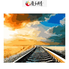 Diy Oil Painting Picture Drawing By Numbers Frameless Colorful Canvas Railway Scenery Handmade by Number for Living Room(China)